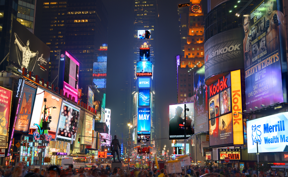 Experience the lively Times Square